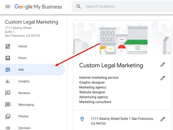 Click on Info - Google My Business Attribute