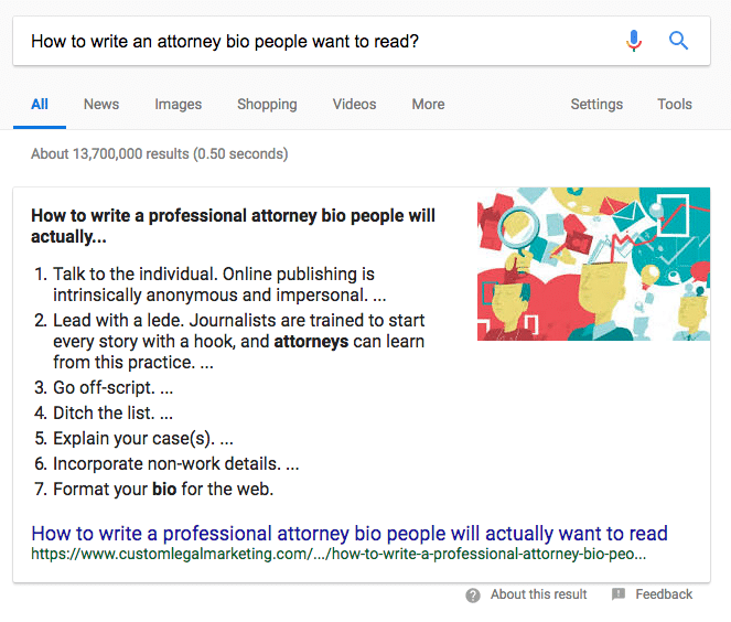 Google Featured Snippet about Attorney Bios