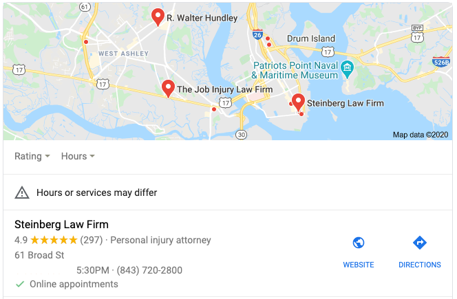 Steinberg Law Firm's Google My Business listing showing that they are available for Online Appointments