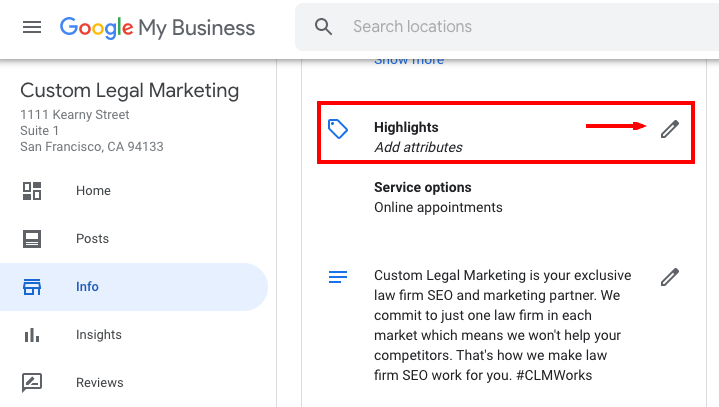 Highlights - Google My Business Attribute