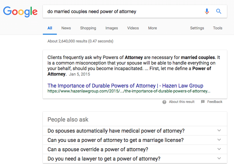 Google Card answering a question about Power of Attorney for married couples