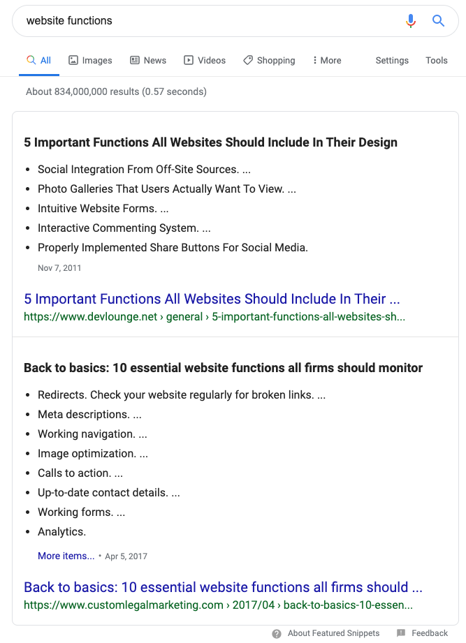 Example of two featured snippets on search results page