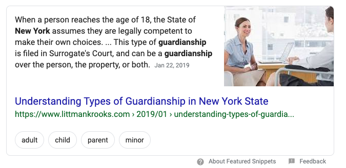 Featured snippet on guardianships