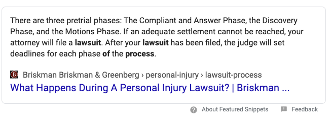 Featured Snippet About the Personal Injury Lawsuit Process