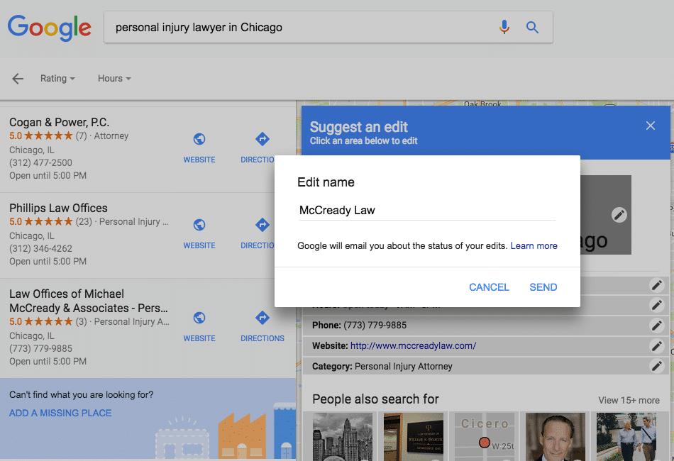 Editing Google My Business Name