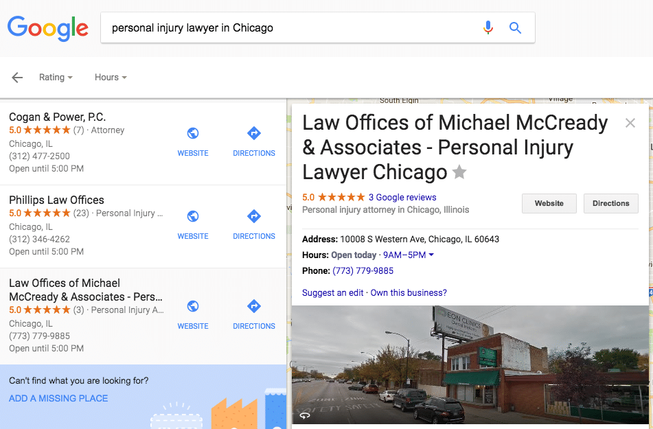 Personal injury lawyer spamming Google Maps