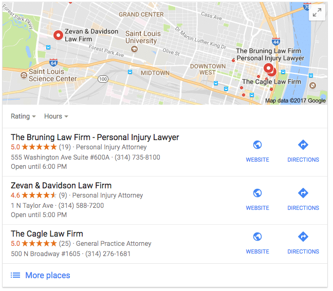 Google Maps Spam in St. Louis Personal Injury Search