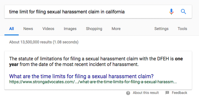 Google Featured Snippet for Sexual Harassment Question