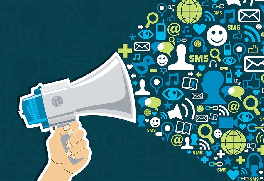 Vector illustration of a bullhorn representing social media marketing.