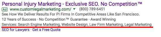 Adwords Structured Snippets