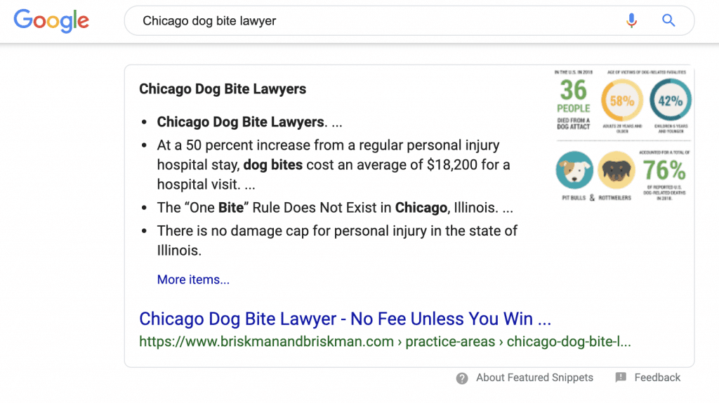 Google Featured Snippet for Personal Injury Lawyer