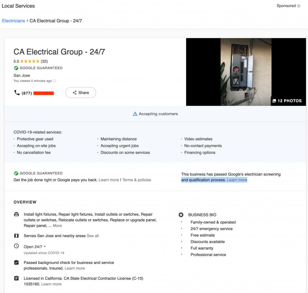 Google Local Service Ad Landing Page