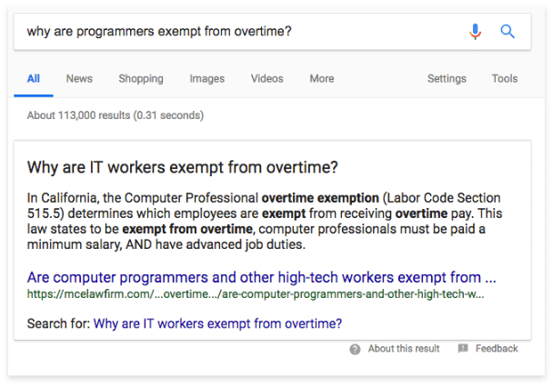 Example of law firm with position zero in search engine